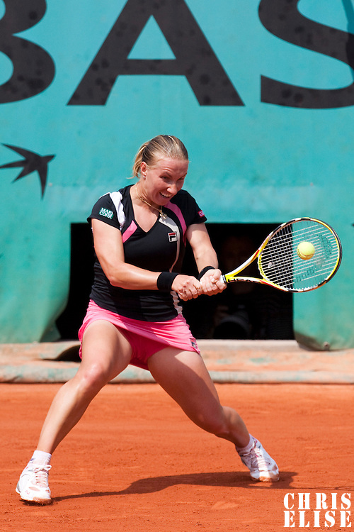 3 June 2009: Svetlana Kuznetsova of Russia hits a backhand during the Women's single quarter final match on day eleven of the French Open at Roland Garros in Paris, France.