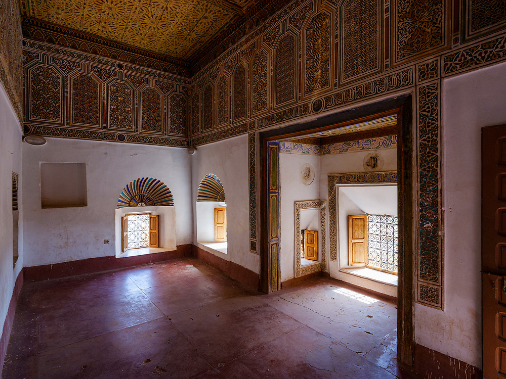 OURZAZATE, MOROCCO - CIRCA MAY 2018:  OURZAZATE, Interior of Taourirt Kasbah in Ourzazate