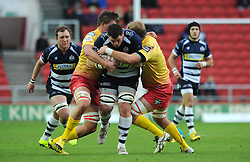 Bristol Rugby Number 8 James Phillips is challenged for the ball - Mandatory byline: Dougie Allward/JMP - 07966 386802 - 22/11/2015 - RUGBY - Ashton Gate - Bristol, England - Bristol Rugby v Scarlets Select - British & Irish Cup