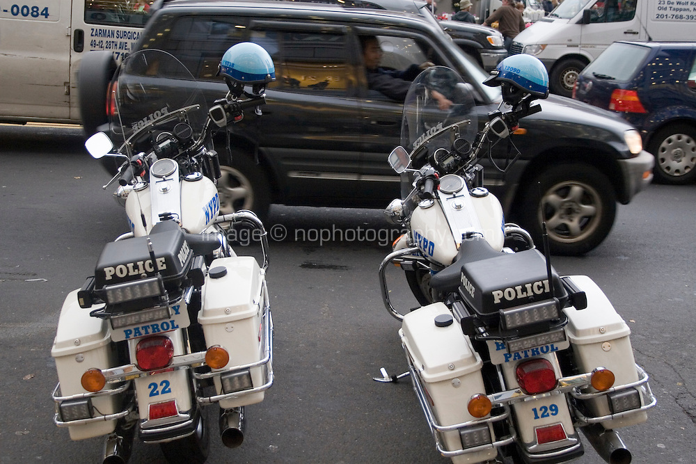 Two police motorbikes parked on Union Square Manhattan  New York
