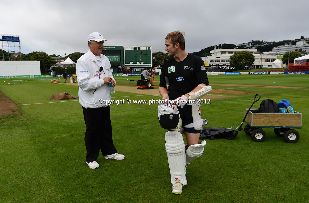 Gary Baxter and Kane WIlliamson. Test match cricket. Third Test, Day 1. New Zealand Black Caps versus South Africa Proteas, Basin Reserve, Wellington, New Zealand. Friday 23 March 2012. Photo: Andrew Cornaga/Photosport.co.nz
