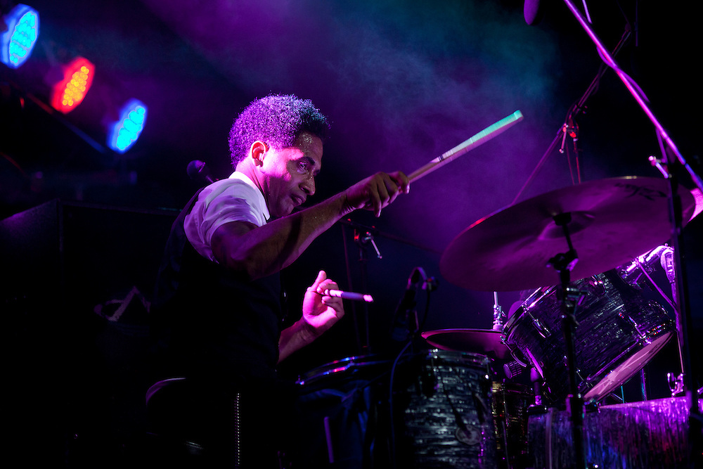 Drummer Max MacVeety performs in Karl Denson's Tiny Universe at Camp Euforia on Friday, July 17, 2015.