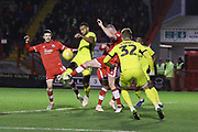 Joe Maguire, Tyrone Barnett and Mark Connolly  during the EFL Sky Bet League 2 match between Crawley Town and Cheltenham Town at the Broadfield Stadium, Crawley, England on 5 January 2019.