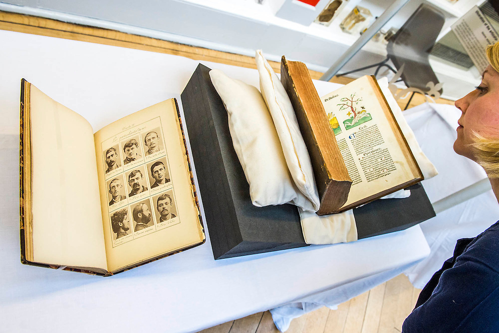 Bertillon mug shots and the Ortus Sanitus (Garden of Health) a book by Jacob Meydenbach, 1481 - Forensics: the anatomy of crime – announcement of Wellcome Collection's major spring exhibition.  Never-displayed items from historic figures of forensic medicine including the work of: Sir Bernard Spilsbury who was the first of the celebrity pathologists whose evidence, taken down on indexed note cards, turned cases - including that of Dr Crippen; Alphonse Bertillon who invented the mug shot and developed classifying techniques for identification (demonstrated in his 1893 book Identification anthropometrique: instructions signaletiques) - Sherlock Holmes is described as 'the second highest expert in Europe' after Bertillon in The Hound of the Baskervilles; and the Ortus Sanitus (Garden of Health) a book by Jacob Meydenbach, 1481, illustrating, amongst other things, the relationship of flies to carrion – contradicting existing medieval superstition.