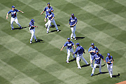 LOS ANGELES - MAY 30:  Wide angle general view of players taking batting practice prior to the game between the Colorado Rockies and the Los Angeles Dodgers on Monday, May 30, 2011 at Dodger Stadium in Los Angeles, California. The Dodgers won the game 7-1. (Photo by Paul Spinelli/MLB Photos via Getty Images)