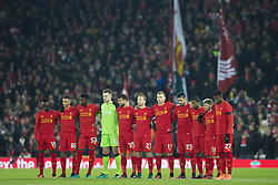 Halbfinale im Liga-Pokal Liverpool vs Leeds 1:0 in Liverpool / 291116<br /> <br /> ***LIVERPOOL, ENGLAND 29TH NOVEMBER 2016:<br /> Liverpool players line up at Anfield Stadium in Liverpool  before the English League Cup soccer match between Liverpool and Leeds in tribute to the members of Chapecoense football team from Brazil who died in a plane crash in Colombia en route to play in the final of the Copa Sudamericana England November 29th 2016***