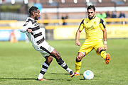 Forest Green Rovers Dale Bennett(6) passes the ball during the Vanarama National League match between Southport and Forest Green Rovers at the Merseyrail Community Stadium, Southport, United Kingdom on 17 April 2017. Photo by Shane Healey.