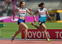 Athletics - 2017 IAAF London World Athletics Championships - Day Three, Morning Session<br /> <br /> 400m Women - Round One<br /> <br /> Zoey Clark (Great Britain) sprints down the home straight and  qualifies for the next round at the London Stadium <br /> <br /> <br /> COLORSPORT/DANIEL BEARHAM