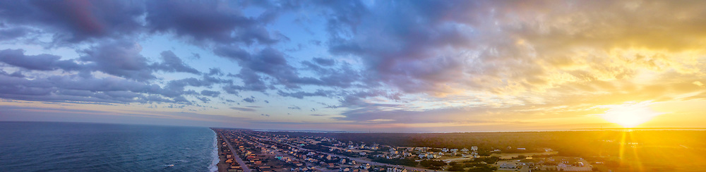 Long panoramic aerial Photo of Kitty Hawk beach on the Outer Banks. <br />