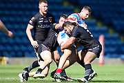 Bradford Bulls Scott Moore (34) puts a tackle in during the Kingstone Press Championship match between Rochdale Hornets and Bradford Bulls at Spotland, Rochdale, England on 18 June 2017. Photo by Simon Davies.