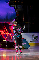 KELOWNA, BC - SEPTEMBER 21:  Deegan Mofford #27 of the Kelowna Rockets enters the ice for home opener against the Spokane Chiefs at Prospera Place on September 21, 2019 in Kelowna, Canada. (Photo by Marissa Baecker/Shoot the Breeze)