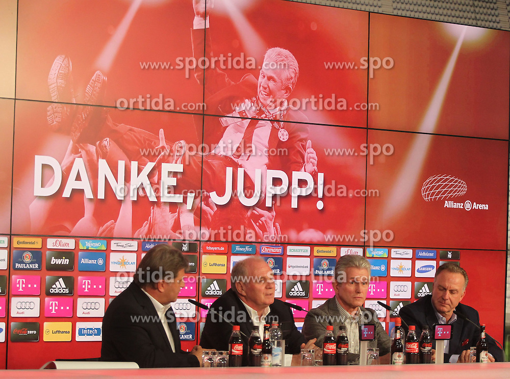 04.06.2013, Alianz Arena, Muenchen, GER, 1. FBL, FC Bayern Muenchen, Pressekonferenz, im Bild, Jupp Heynckes verabschiedet sich bei FC Bayern // during a presss conference of FC Bayern Munich at the Alianz Arena, Munich, Germany on 2013/06/04. EXPA Pictures &copy; 2013, PhotoCredit: EXPA/ Eibner/ Ruiz<br /> <br /> ***** ATTENTION - OUT OF GER *****