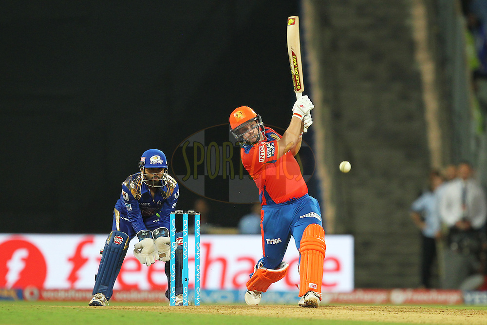 Aron Finch of Gujrat Lions plays a shot  during match 9 of the Vivo Indian Premier League ( IPL ) 2016 between the Mumbai Indians and the Gujarat Lions held at the Wankhede Stadium in Mumbai on the 16th April 2016Photo by Prashant Bhoot/ IPL/ SPORTZPICS