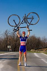 Virginia Cavaliers U.S. National Collegiate Champion Mark Hardman..Members of the University of Virginia Cycling Team met at Reeds Gap on the Blue Ridge Parkway in Virginia on April 9, 2007 for a team photo shoot.
