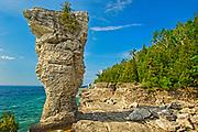 Flower pot of limesotne on Flowerpot Island along Lake Huron, Fathom Five National Marine Park, Ontario, Canada
