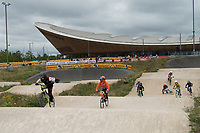 Competitors in action during the Prudential RideLondon BMX Quarter Finals. Prudential RideLondon 28/07/2017<br /> <br /> Photo: Bob Martin/Silverhub for Prudential RideLondon<br /> <br /> Prudential RideLondon is the world&rsquo;s greatest festival of cycling, involving 100,000+ cyclists &ndash; from Olympic champions to a free family fun ride - riding in events over closed roads in London and Surrey over the weekend of 28th to 30th July 2017. <br /> <br /> See www.PrudentialRideLondon.co.uk for more.<br /> <br /> For further information: media@londonmarathonevents.co.uk
