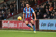 Kyle Wootton of Scunthorpe United brings ball under control  during the Sky Bet League 1 match between Scunthorpe United and Sheffield Utd at Glanford Park, Scunthorpe, England on 19 December 2015. Photo by Ian Lyall.