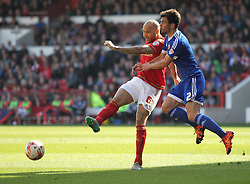 Kelvin Wilson of Nottingham Forest (L) and Maxime Colin of Brentford in action - Mandatory by-line: Jack Phillips/JMP - 02/04/2016 - FOOTBALL - City Ground - Nottingham, England - Nottingham Forest v Brentford - Sky Bet Championship