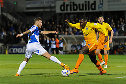 Matt Taylor of Bristol Rovers challenges for the ball with Aaron Pierre of Wycombe Wanderers - Mandatory byline: Dougie Allward/JMP - 07966 386802 - 06/10/2015 - FOOTBALL - Memorial Stadium - Bristol, England - Bristol Rovers v Wycombe Wanderers - JPT Trophy