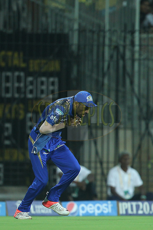 Hardik Pandya takes the catch to dismiss Brendon McCullum of the Chennai Superkings  during match 43 of the Pepsi IPL 2015 (Indian Premier League) between The Chennai Superkings and The Mumbai Indians held at the M. A. Chidambaram Stadium, Chennai Stadium in Chennai, India on the 8th May April 2015.<br /> <br /> Photo by:  Ron Gaunt / SPORTZPICS / IPL