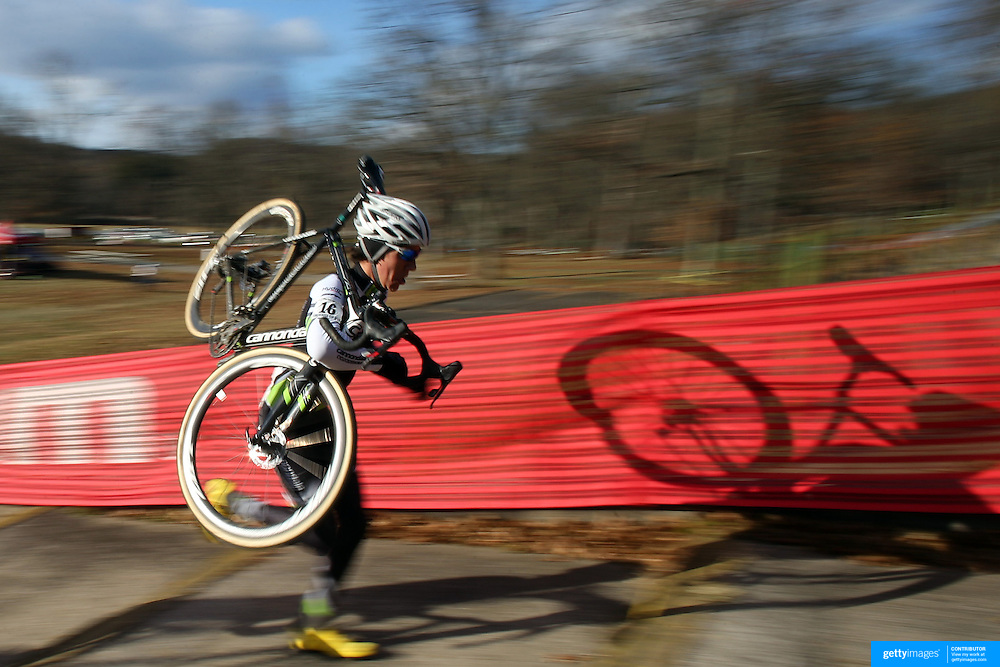 Curtis White tackles the stairway during the Cyclo-Cross, Supercross Cup 2013 UCI Weekend at the Anthony Wayne Recreation Area, Stony Point, New York. USA. 24th November 2013. Photo Tim Clayton