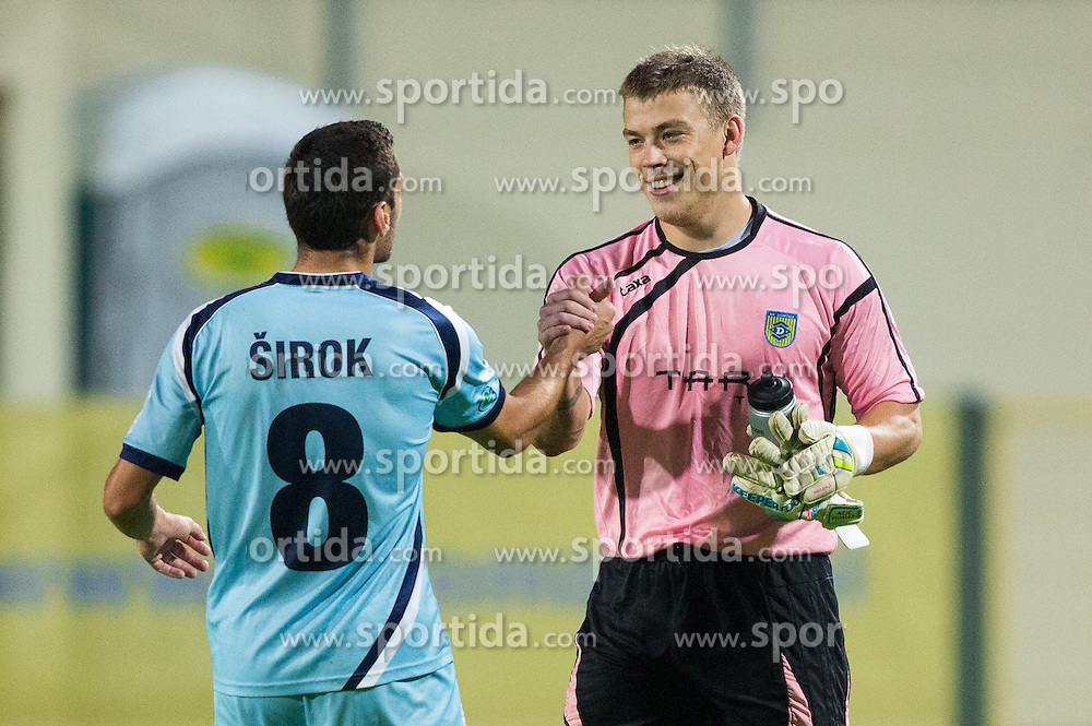 Matija Sirok #8 of Gorica and Nejc Vidmar #41 of Domzale after the football match between NK Domzale and ND Gorica in 10th Round of Prva liga Telekom Slovenije 2014/15, on September 24, 2014 in Sports park Domzale, Slovenia. Photo by Vid Ponikvar / Sportida.com