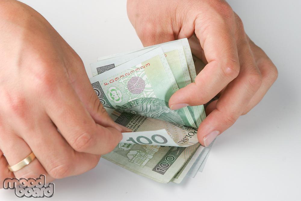 Studio shot of polish money