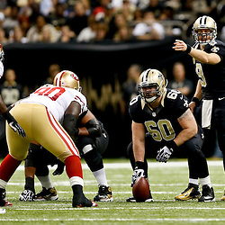 Nov 17, 2013; New Orleans, LA, USA; New Orleans Saints quarterback Drew Brees (9) against the San Francisco 49ers during the first quarter of a game at Mercedes-Benz Superdome. Mandatory Credit: Derick E. Hingle-USA TODAY Sports