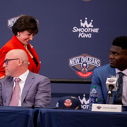 Jun 21, 2019; New Orleans, LA, USA; New Orleans Pelicans owner Gayle Benson walks past Executive Vice President of Basketball Operations towards Zion Williamson the first overall selection in the NBA Draft talks during an introductory press conference at the New Orleans Pelicans Training Facility. Mandatory Credit: Derick E. Hingle-USA TODAY Sports