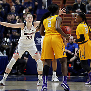 Katie Lou Samuelson, UConn, defending against Khadidja Toure, East Carolina, during the UConn Huskies Vs East Carolina Pirates Quarter Final match at the  2016 American Athletic Conference Championships. Mohegan Sun Arena, Uncasville, Connecticut, USA. 5th March 2016. Photo Tim Clayton