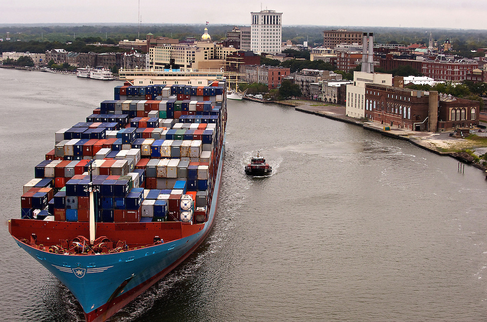 The 8,500 unit container ship Arnold Maersk makes it's way up the Savannah River to the Georgia Ports Authority Garden City container terminal Saturday, September 17, 2011 in Savannah, Georgia. (GPA Photo/Stephen Morton)