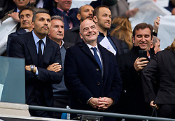 MANCHESTER, ENGLAND - Saturday, April 7, 2018: FIFA President Gianni Infantino with Manchester City's Chairman Khaldoon Al Mubarak during the FA Premier League match between Manchester City FC and Manchester United FC at the City of Manchester Stadium. (Pic by David Rawcliffe/Propaganda)