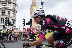 Ursa Pintar (SLO) of BTC City Ljubljsana Cycling Team leans into the corner leading onto Whitehall during the Prudential RideLondon Classique, a 66 km road race in London on July 30, 2016 in the United Kingdom.