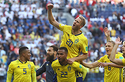 SAINT PETERSBURG, July 3, 2018  Players of Sweden celebrate victory after the 2018 FIFA World Cup round of 16 match between Switzerland and Sweden in Saint Petersburg, Russia, July 3, 2018. Sweden won 1-0 and advanced to the quarter-final. (Credit Image: © Cao Can/Xinhua via ZUMA Wire)