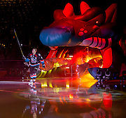 KELOWNA, CANADA - SEPTEMBER 24: Gordie Ballhorn #4 of the Kelowna Rockets skates out for the begining of the game on September 24, 2016 at Prospera Place in Kelowna, British Columbia, Canada.  (Photo By Cindy Rogers/Nyasa Photography,  *** Local Caption ***