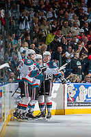 KELOWNA, CANADA - APRIL 5: Rourke Chartier #14, Mitchell Wheaton #6 and Marek Tvrdon #17 of the Kelowna Rockets celebrate a goal against the Seattle Thunderbirds on April 5, 2014 during Game 2 of the second round of WHL Playoffs at Prospera Place in Kelowna, British Columbia, Canada.   (Photo by Marissa Baecker/Getty Images)  *** Local Caption *** Rourke Chartier; Mitchell Wheaton; Marek Tvrdon;