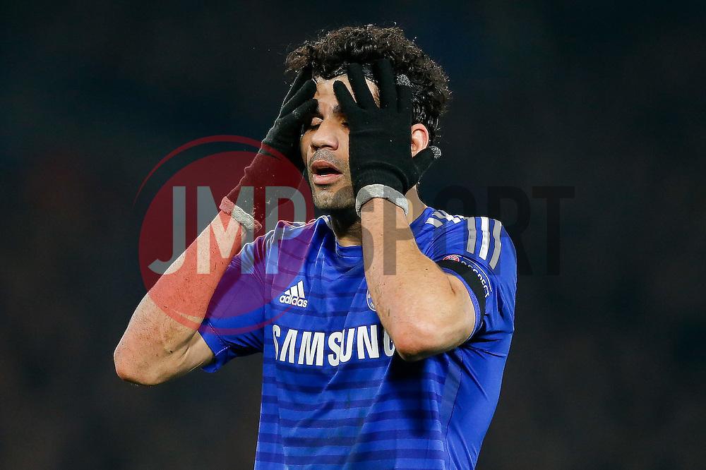 Diego Costa of Chelsea looks dejected - Photo mandatory by-line: Rogan Thomson/JMP - 07966 386802 - 11/03/2015 - SPORT - FOOTBALL - London, England - Stamford Bridge - Chelsea v Paris Saint-Germain - UEFA Champions League Round of 16 Second Leg.