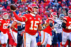Jan 19, 2020; Kansas City, Missouri, USA; Kansas City Chiefs quarterback Patrick Mahomes (15) throws a pass during the second half against the Tennessee Titans in the AFC Championship Game at Arrowhead Stadium. Mandatory Credit: Denny Medley-USA TODAY Sports