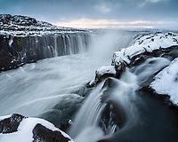 Selfoss waterfall in winter. River Jökulsá á Fjöllum, north Iceland.