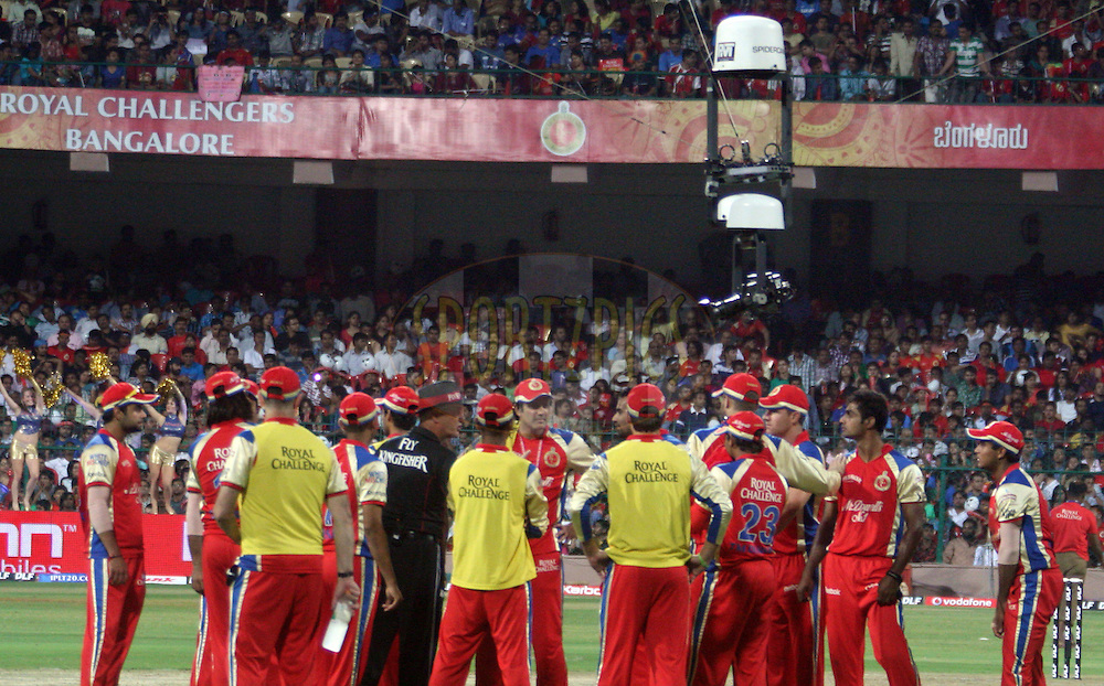 The spidercam in operation during match 8 of the the Indian Premier League ( IPL ) Season 4 between the Royal Challengers Bangalore and the Mumbai Indians held at the Chinnaswamy Stadium, Bangalore, Karnataka, India on the 12th April 2011..Photo by Vino John/BCCI/SPORTZPICS