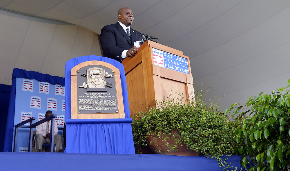 COOPERSTOWN, NY - JULY 27:  2014 Baseball Hall of Famer inductee Frank Thomas gives his acceptance speech during the 2014 HOF induction ceremonies held at the Clark Sports Center in Cooperstown, New York on July 27 2014.