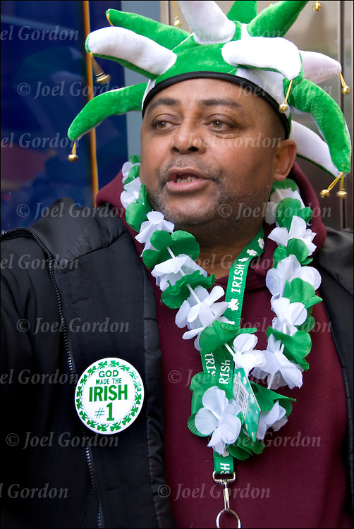 African American, Irish for a Day, face in the crowd for the St.Patrick Day Parade in New York City