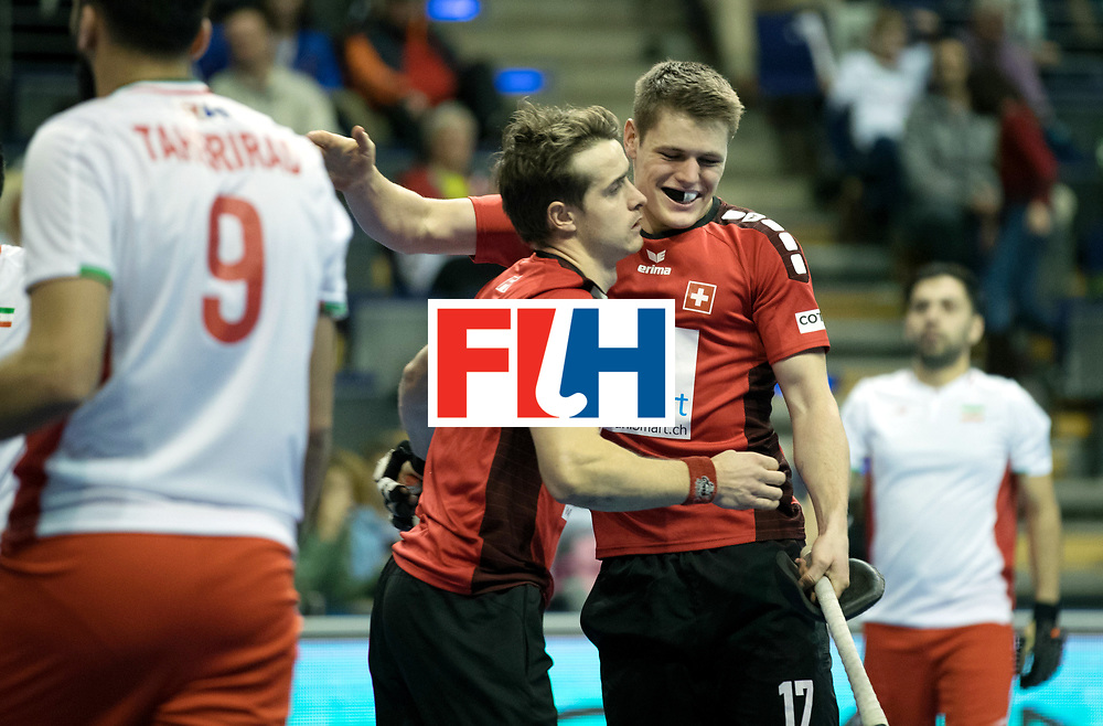 BERLIN - Indoor Hockey World Cup<br /> Men: Iran - Switzerland<br /> foto: KELLER Manuel and STOMPS Boris.<br /> COPYRIGHT WILLEM VERNES