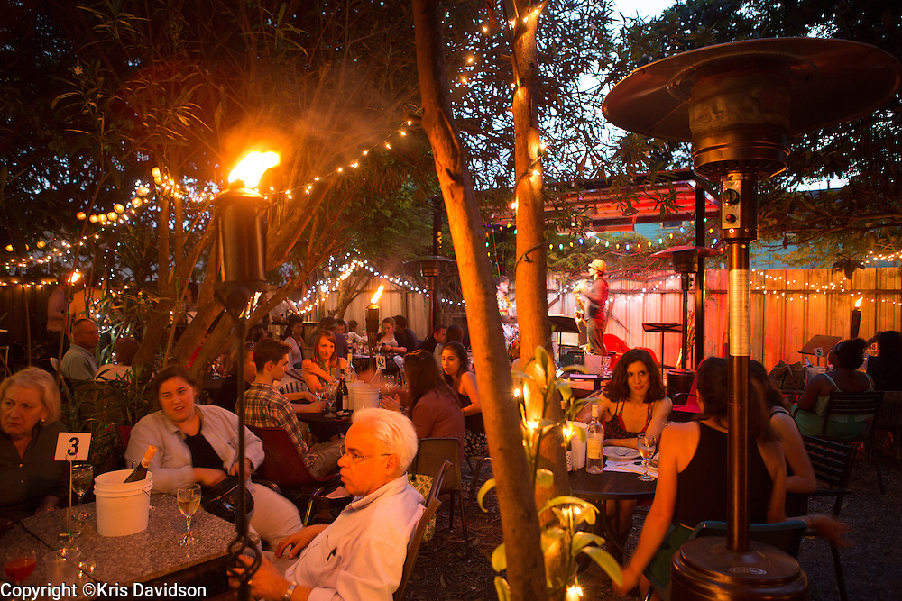 The backyard at Bacchanal in the Bywater (9th Ward) is always hopping any day of the week, weather permitting. Patrons buy wine in the wine shop up front and head to the back to enjoy great jazz.