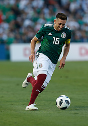 May 28, 2018 - Pasadena, CA, U.S. - PASADENA, CA - MAY 28: HŽctor Herrera attempts a shot on goal during the game against Wales on May 28, 2018, at the Rose Bowl in Pasadena, CA.  (Photo by Adam  Davis/Icon Sportswire) (Credit Image: © Adam Davis/Icon SMI via ZUMA Press)