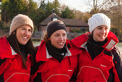 Marlow, Bucks, January 24th 2015. Olympic and Paralympic rowing medallists including Naomi Riches, Heather Stanning and Katherine Grainger join members of a Coxless Crew at Marlow at their boat naming ceremony. The Coxless Crew is a team of four women who have given up their jobs to undertake an epic six-month 8,446 mile adventure rowing their boat Doris across the Pacific ocean from Sanfrancisco to Cairns in Australia, to raise funds for charities Walking With The Wounded and Breast Cancer Care. PICTURED: L-R Natalia Cohen, Emma Mitchell, Laura Penhaul