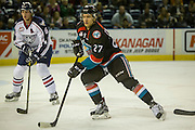 KELOWNA, CANADA - OCTOBER 21:  Calvin Thurkauf #27 of the Kelowna Rockets and Juuso Välimäki #6 of the Tri-City Americans at the Kelowna Rockets game on October 21, 2016 at Prospera Place in Kelowna, British Columbia, Canada.  (Photo By Cindy Rogers/Nyasa Photography,  *** Local Caption ***