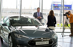 LONDON, ENGLAND - Saturday, June 7, 2014: CEO & Chief Product Architect Elon Musk at the UK launch of Tesla Motors' Model S electric car at the Crystal. (Pic by David Rawcliffe/Propaganda)