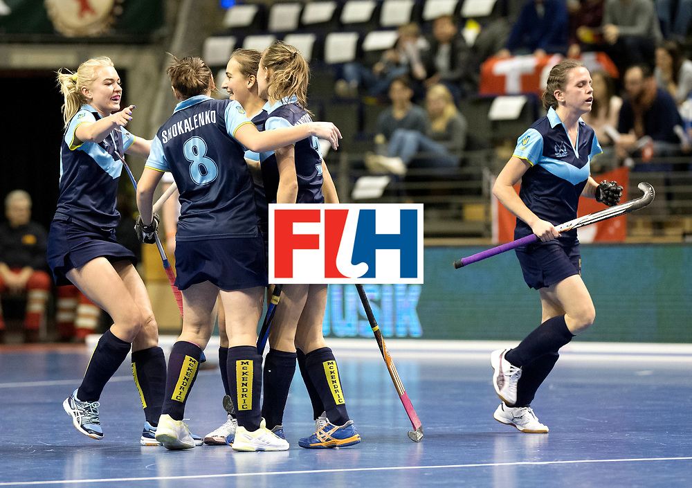 BERLIN - Indoor Hockey World Cup<br /> Quarterfinal 2: Ukraine - Switzerland<br /> foto: Ukraine celebrates.<br /> WORLDSPORTPICS COPYRIGHT FRANK UIJLENBROEK