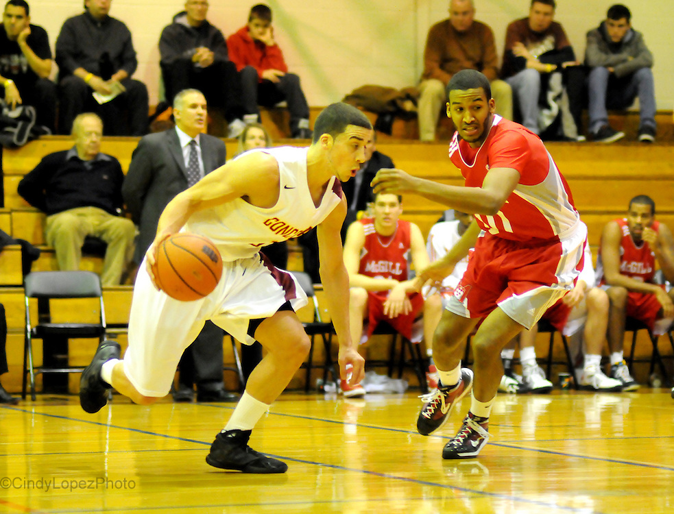 Concordia Guard Kyle Desmarais on the rush against McGill at Concordia Gym. (Published in The Concordian. November 2010)